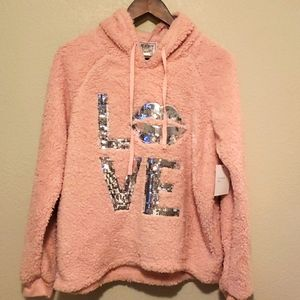 Mentally Exhausted Pink Sherpa Oversized H…